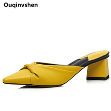 Ouqinvshen Butterfly-knot Yellow Shoes Women High Heels Pointed Toe High-quality Fashion Summer Shoes Strange Style Mules Shoes
