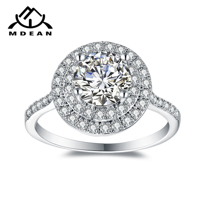 MDEAN White Gold Color Engagement Rings For Women AAA Zircon Jewelry Fashion Wom