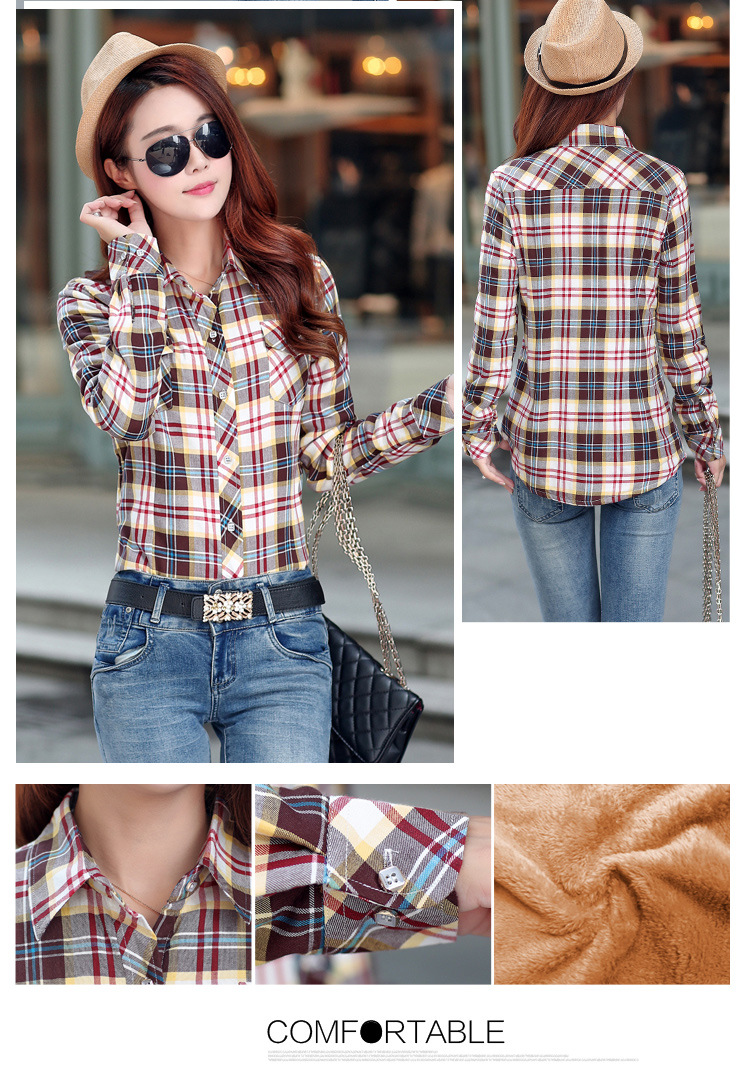 19 Brand New Winter Warm Women Velvet Thicker Jacket Plaid Shirt Style Coat Female College Style Casual Jacket Outerwear 31