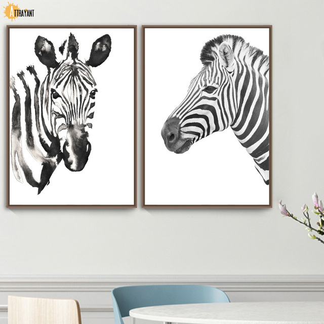 Watercolor Zebra Photo Black White Wall Art Canvas Painting Nordic Posters And Prints Animal Wall Pictures For Living Room Decor