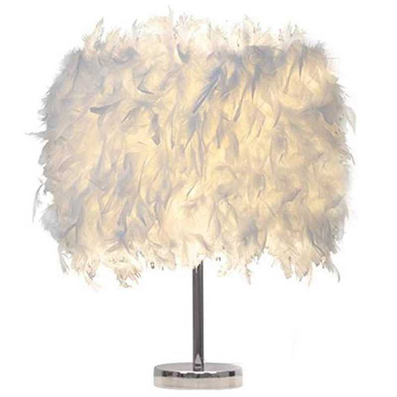 Feather Shade Metal Table Lamp Bedside Desk Vintage Night Light Christmas Decor Soft Vintage Bedroom Study Room Eu Plug Modern