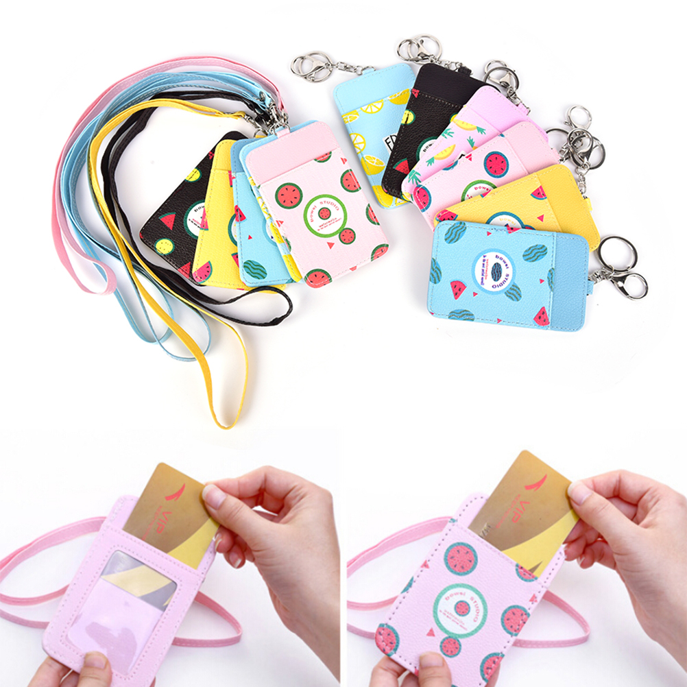 Neck Hanging Key Hook Bus Id Card Holder Case Pouch Bag Holder Novelty Summer Fruits 11*7cm Luggage & Bags