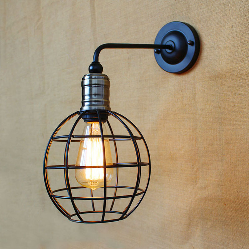 ФОТО Retro vintage American country style fixed metal round-shapes iron cage loft wall lamp LED Bulbs Foyer,Dining, Room,Bedroom E27