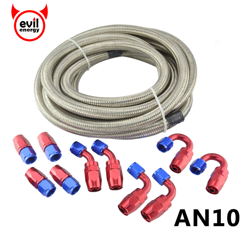 evil energy AN10 Double Stainless Steel Braided 5M Silver Hose Line AN10 Oil Fuel Fittings 0