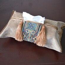 Классическая тканевая коробка с вышивкой, хлопковый держатель для салфеток, чехол для комнаты, автомобиля, дивана, отеля, декоративный бумажный чехол, товары для свадьбы