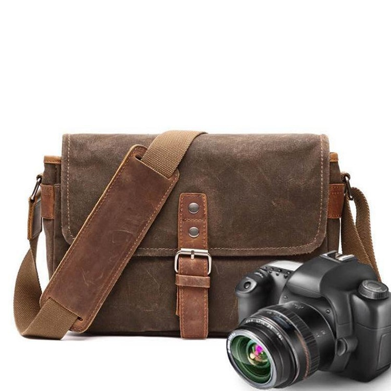 YUPINXUAN Mens Vintage Oil Wax Canvas Leather Shoulder Bags Shockproof DSLR Camera Bag Waterproof Canvas Crossbody Bags Russian fiio x7