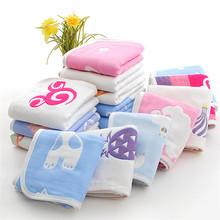 Six layers of pure cotton child-towel Baby towel Cartoon gauze  Jacquard face cloth Home Cleaning Face for baby Kids