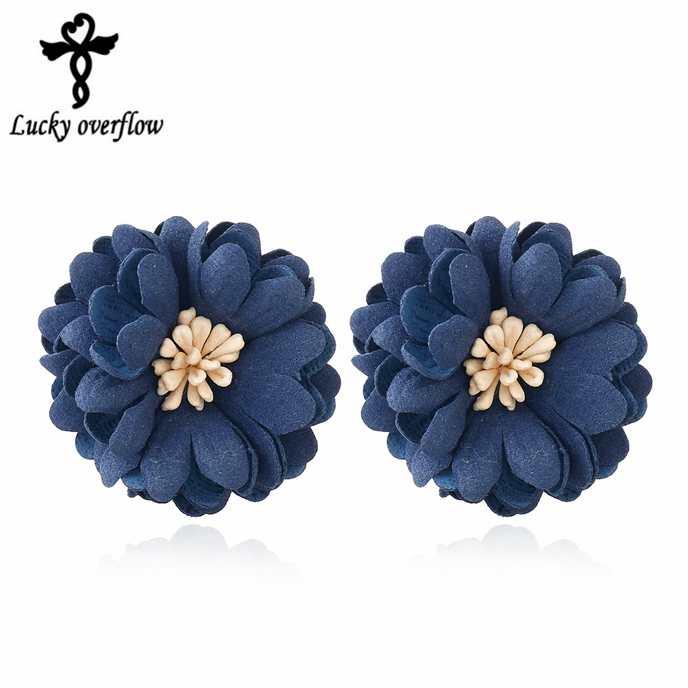 2018 New Fashion European Classic Pearl Jewelry Fabric Navy blue Flowers font b Earrings b font