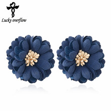 2018 New Fashion European Classic Pearl Jewelry Fabric Navy blue Flowers Earrings Best Gift for Christmas Day Stud Earrings