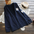 New Japanese Sweet Casual Long Sleeved Sweater Women Loose Cartoon Cat Embroidery Female Vestido Cute Sweater Cardigan U636