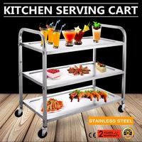 Commercial Bus Cart Kitchen Food Catering Rolling Dolly 3 Shelf Stainless Steel