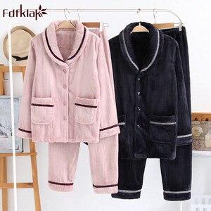 Image 1 - Fdfklak nỉ mặc mùa đông pyjamas nữ dày ấm đồ ngủ bộ đồ ngủ bộ thu đông Pijama của cặp đôi váy ngủ Bộ Pyjama Femme