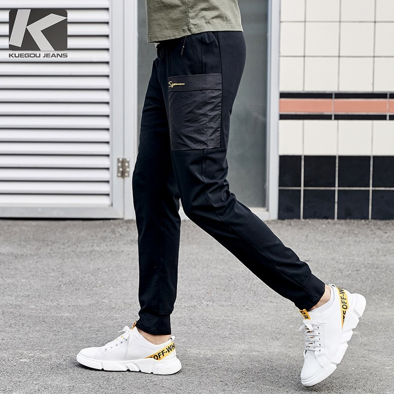 Summer 2019 New Men Casual Cargo Pants 100% Cotton Letter Black Color Pocket For Man Fashion Slim Male Wear Long Trousers 09354-in Cargo Pants from Men's Clothing    1