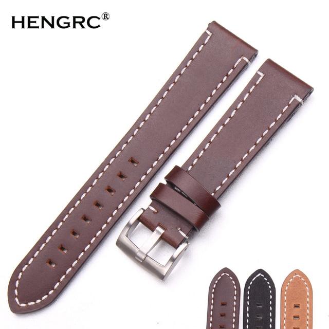 Hand Stitching Vintage Watchbands Men Genuine Leather 18 20 22mm Calfskin Watch