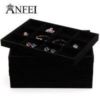 2016 New Fashion Gray Jewelry Watch Bracelet Necklace Trinket Velvet Jewellery Display Box Storage Case Organizer