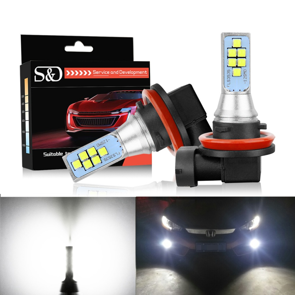2pcs <font><b>LED</b></font> Fog Light H11 <font><b>H8</b></font> <font><b>LED</b></font> Bulbs Canbus <font><b>Cree</b></font> chips 12V 1400LM Car Lights Daytime Running Light DRL Lamp Auto 6000k White image