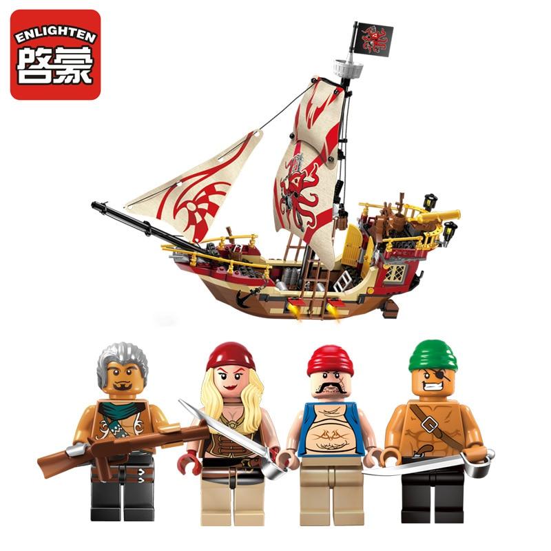 Enlighten 1311 Legendary Pirates Marauders Corsair Boat Minifigure Assemble Building font b Block b font Toys