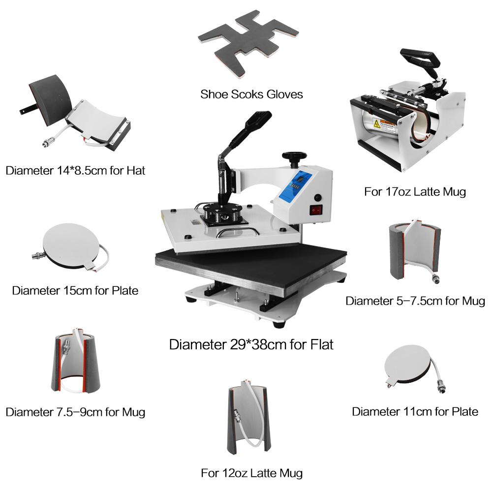 9 in 1 Combo Heat Transfer Machine T-shirt Heat Press Machine for cap/mug/plate/phone case/shoes/sock/glove printing cheap manual swing away heat press machine for flatbed print 38 38cm