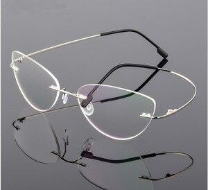 Image 2 - Cat eye titanium không có vành kính Đọc Sách Siêu ánh sáng phụ nữ hợp kim không Có Vành Kính đọc sách presbyopic Kính + 0.50 đến + 6.00