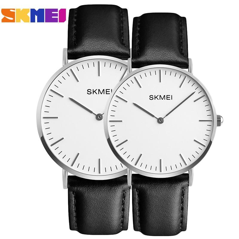 SKMEI Lovers Watches Women Men Black Leather Quartz Wrist Watch Couples Woman Man Fashion Casual Wristwatches Relogio Clock 1182