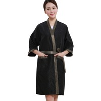 Salon Client Gown Robe Gold Side Smock Kimono Hairdressing Cape Dress Beauty SPA Hotel Barber Guest Clothes Night gown Wrap
