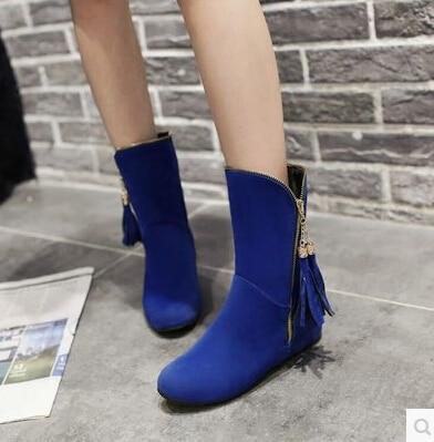 brown Moda Azul azul Negro Con Marino Zapatos Aumentaron Bajo Plano Terciopelo Invierno Otoño De Ronda rojo Flecos Tacón E 2015 Botas Barril RqAFFp