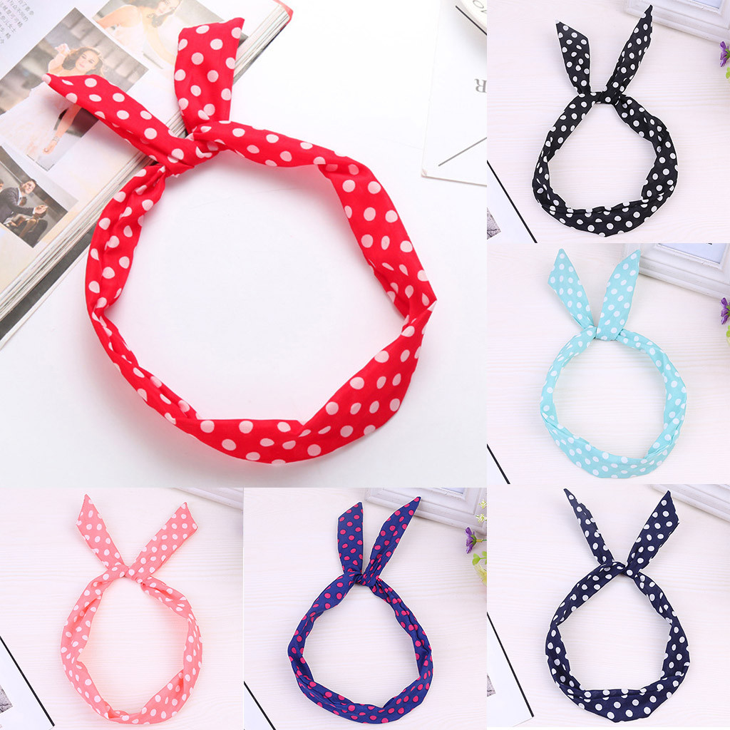 Simple Dot   Headwear   Paisley Rockabilly Wired Headband Polka Dot Tartan Retro Scarf Wire Hair Band Grampo Cabelo Letras