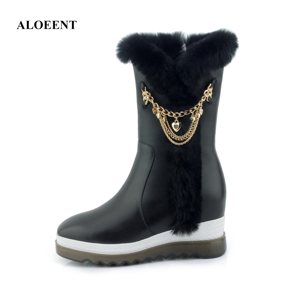 ALOEENT  Fashion Winter Genuine Leather Snow Boots Slip-On Round Toe Flat Chain Cow Leather Resistant Rubber Female Ankle Shoes