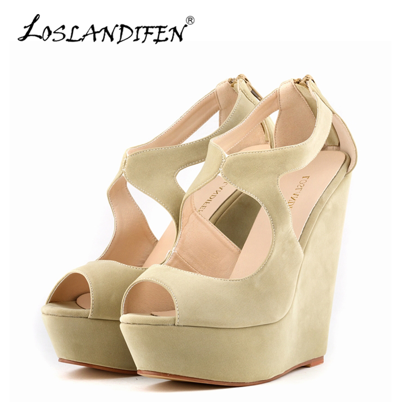 LOSLANDIFEN New Gladiator Women Sandals Elegant Ladies Platform Peep Toe Velvet High Heels Shoes Summer Wedges Sandals 391-2VE 2017 summer new rivet wedges sandals creepers women high heel platform casual shoes silver women gladiator sandals zapatos mujer
