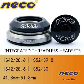 Neco-auriculares para bicicleta 41,8, 42 52 51,8mm, con rodamiento integrado sin rosca, horquilla recta cónica para bicicleta de montaña plegable