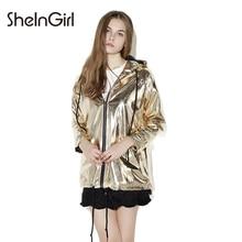 SheInGirl Spring Basic Coats Women 2017 Punk bomber jacket female Gold PU Shinny Pockets Hooded Casual Coats female