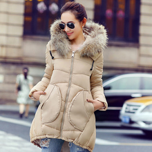 Winter Women's Jacket Fashion Irregular Wadded Jacket Fur Collar Jackets Female Wild Hooded Parkas Casual Loose Coat C1121