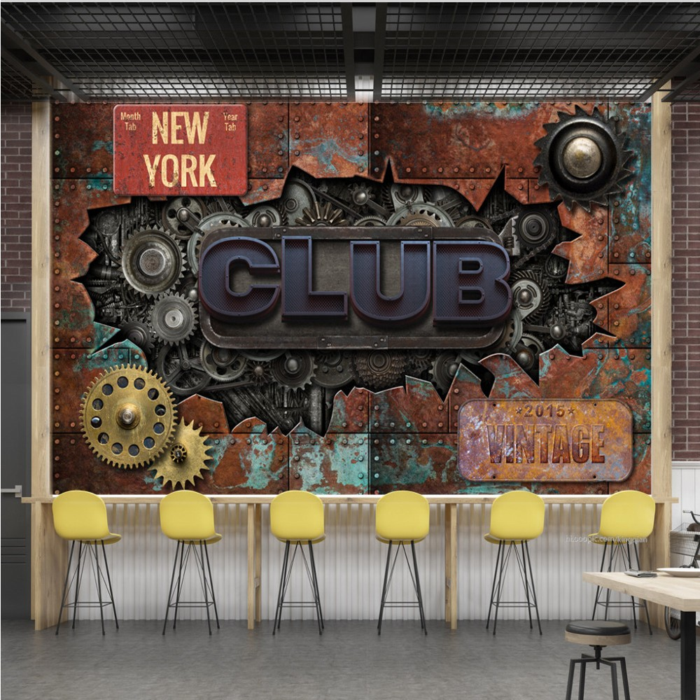 Free Shipping Custom Mural Wallpaper Vintage Retro Shabby Tin Gear Wheel Metal Word Bar KTV Background Wall Mural Painting free shipping celebrity poster marilyn monroe ktv background wall stereo high quality wallpaper living room bedroom custom mural