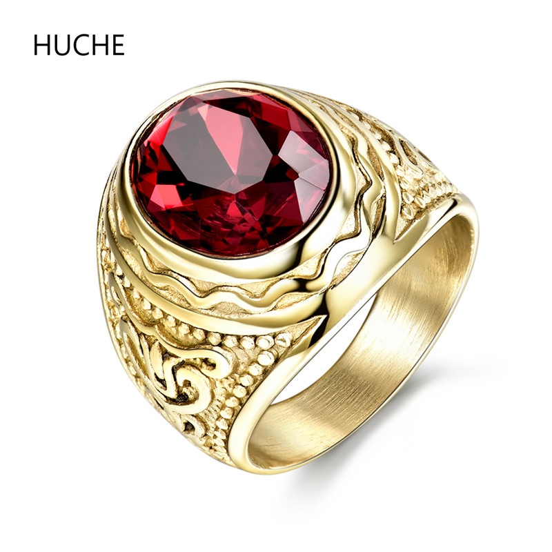 HUCHE 2016 New Arrival Retro Gothic Cool Male Rings Classic Ruby Stainless Steel Rings For Men Fashion Jewelry Ring Size 9 BR162