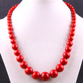 """Fashion Jewelry Round Beads Red Turquoise Necklace 20"""" 1Pcs E339"""