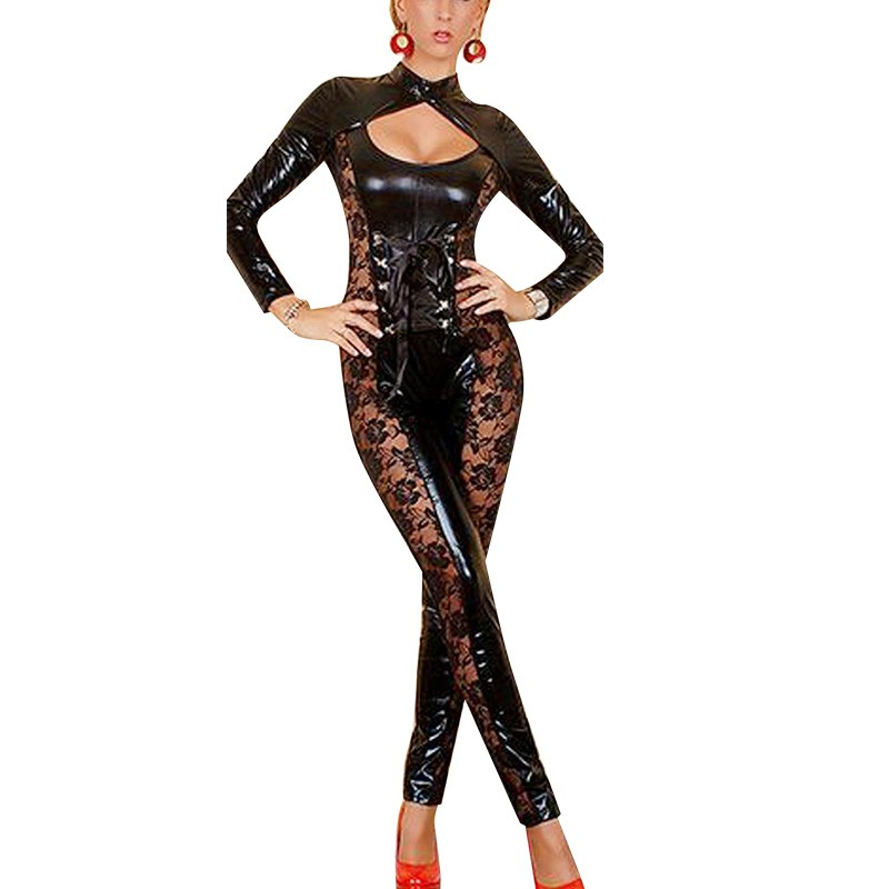 2017 Queen Sexy Catsuit Wet Look See Through Lace Floral Hollow Out The Pain Sexual Pleasure Women Zentai Laces Up W201197