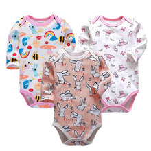 3PCS/LOT Baby Bodysuits Autumn Top Quality Girl Boy Clothes 100% Cotton Long Sleeve Underwear Infant Jumpsuit 0-24M