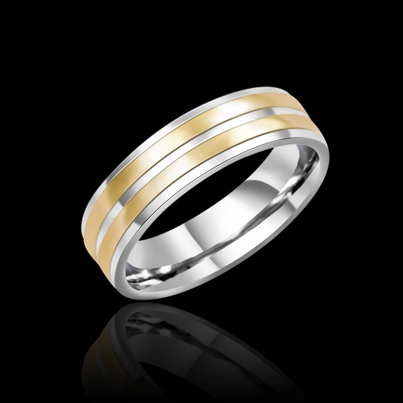 Aliexpress Buy Double Gold Line Stainless Steel Mens Ring For Wedding Rock Bands Jewelry US Size 7 8 9 10 From Reliable Rings Weddings Suppliers