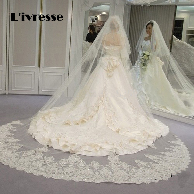 2 T White Ivory Cathedral Wedding Veils Long Lace Edge Mantilla Bridal Veil with Comb Blusher Face Veil voile mariage 2017
