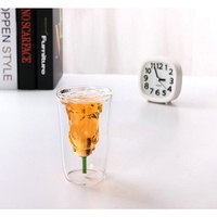 180ml Rose Double Walled Glass Cup Flower Shaped Double Layer Cup Heat Resistant Coffee Beer Tea