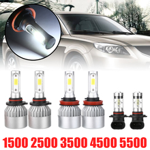 цена на Car Light Source 6pcs LED Headlight+ Fog Light Set for Dodge Ram 1500 2500 3500 4500 5500 2009 2010 2011 2012 2013-2017