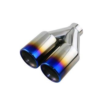 JZZ 1pcs Auto extremidade do tubo do tubo de escape no carro dupla dicas de escape de aço inoxidável