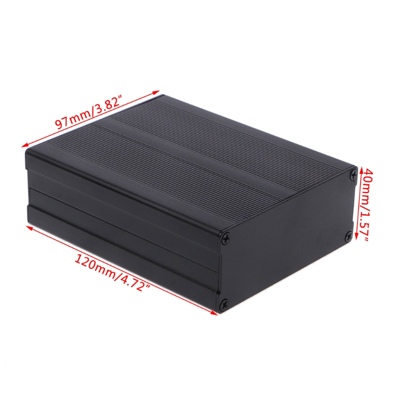 OOTDTY Aluminum Box Enclosure DIY Electronic Project Black Instrument Case 120x97x40mm Extruded Aluminum Front Panels electronic project box 44 5 h x482 w x200 l mm extruded aluminum enclosures black high quality and cheap cost aluminum case