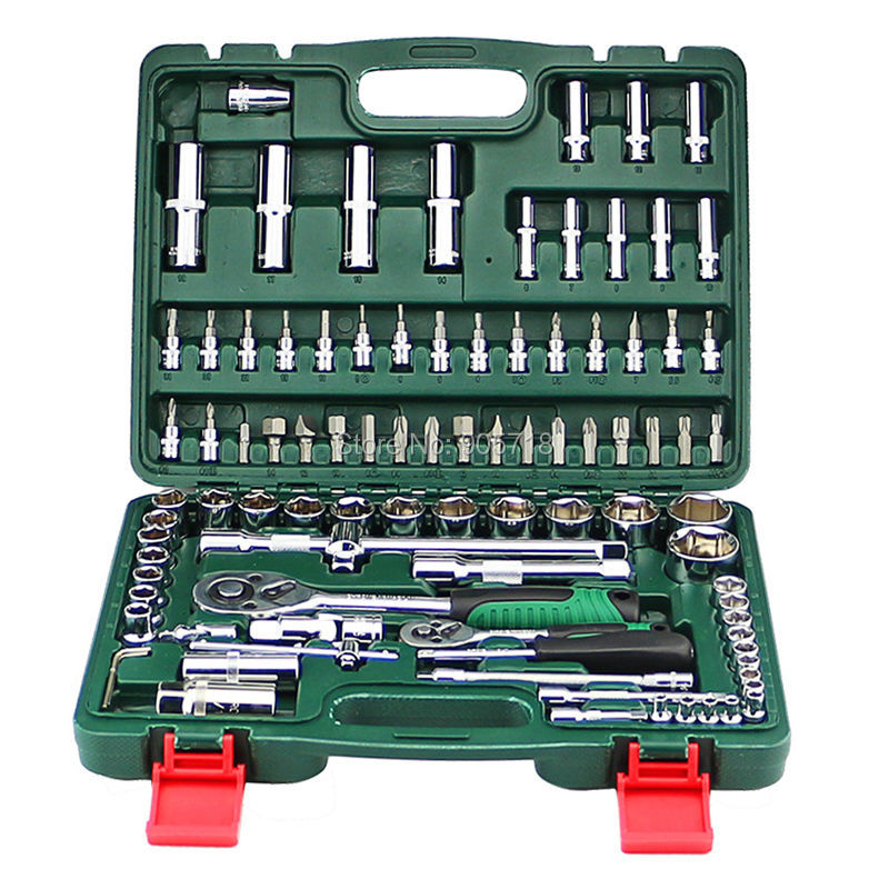 Quality 94pcs CRV Socket Sets with 1/2 &1/4 Ratchet Wrench Car Repair Tools Kit Spanner Set Hand Combination Tool Kit jetech 15pcs 1 2 dr metric socket wrench set with ratchet extention bar 5 inch kit ferramenta car tool sets lifetime guarantee