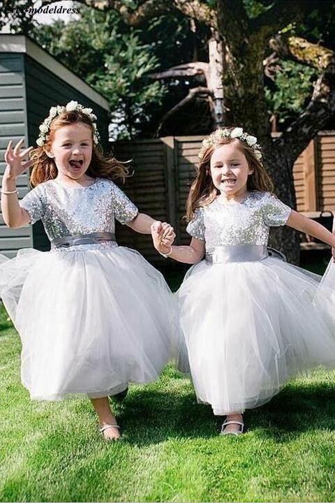 Lovely   Flower     Girl     Dresses   Ankle Length Silver Sequins Bow Pageant Wedding Birthday Party   Dress   First Communion Party Gowns