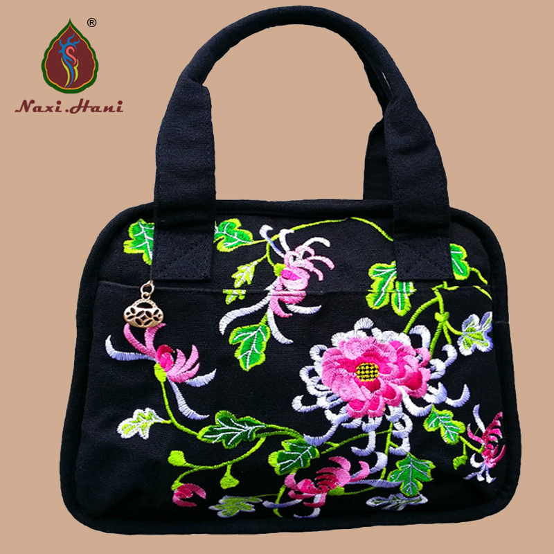 Newest Vintage Classic Black Canvas Women Handbag National style embroidered casual multi-function Shoulder bags / Travel bag vintage embroidery women flats chinese floral canvas embroidered shoes national old beijing cloth single dance soft flats