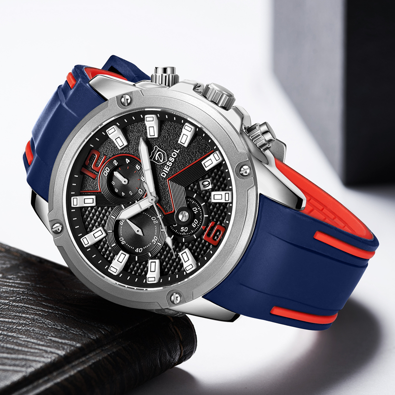 DIESSOL Men's Fashion Sports Quartz Watch Mens Watches Top Brand Luxury Rubber Band Waterproof Business Watch Relogio Masculino 3