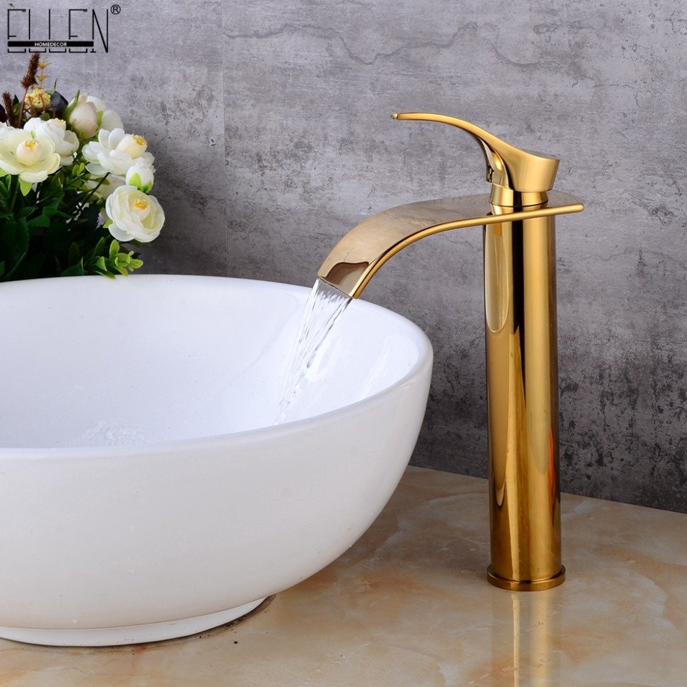 Gold Tall Bathroom Sink Faucet Waterfall Brass Vessel Basin Water Mixer Crane Hot and Cold Faucet Deck Mounted ELS1509G deck mounted bathroom tall sink faucet cold