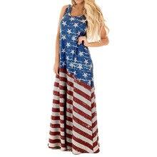 9d6cee146e74 Sexy Women Flag Print Round Neck Sleeveless Long Maxi Casual Beach Dress  Loose American flag Ladies