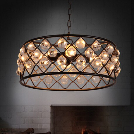 American Art Crystal Pendant Lights Fixtures For Living Room Hanging Lamp With 4 Lights Indoor Lighting Suspension Luminaire american iron round crystal vintage led pendant light fixtures living hanging lamp indoor lighting lamparas suspension luminaire